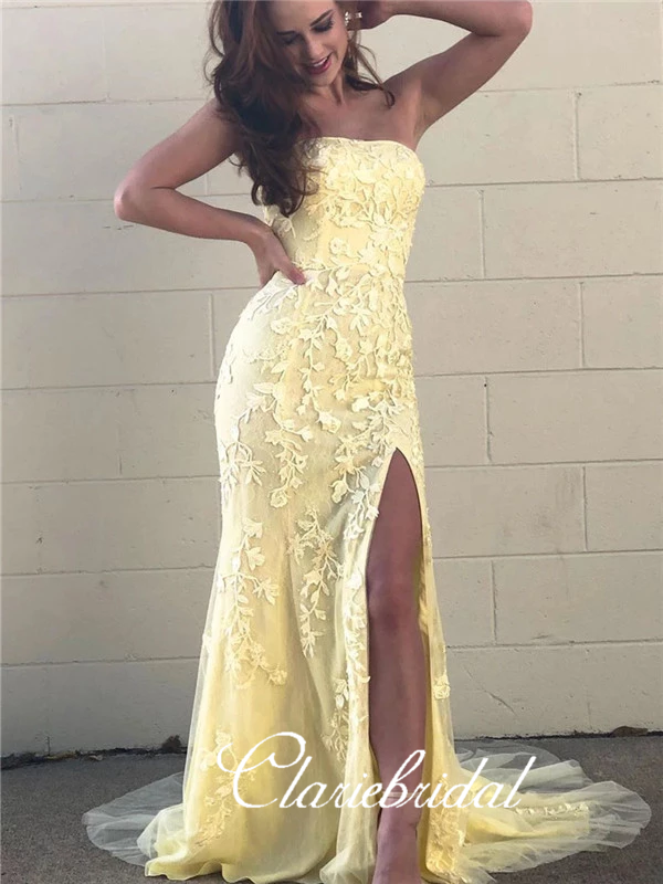 Strapless Long Mermaid Prom Dresses, Yellow Lace Tulle Prom Dresses, Side Slit Prom Dresses