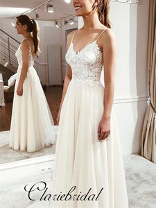 Spaghetti Lace Top Tulle A-line Wedding Dresses, Bridal Gown, V-Back Wedding Dresses