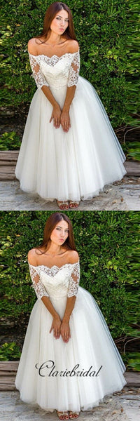 Off Shoulder Half Sleeves A-line Ivory Tulle Long Wedding Dresses