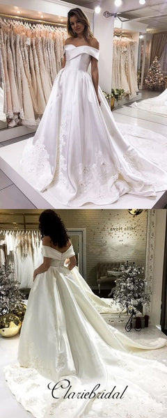Off Shoulder Satin Lace Wedding Dresses, Long Wedding Dresses