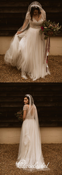 Cap Sleeves A-line Beaded Tulle Gorgeous Long Wedding Dresses