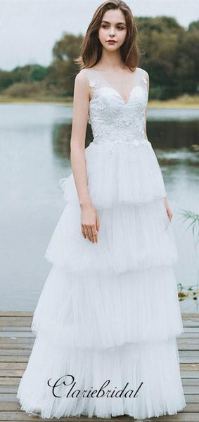 V-neck Fluffy Tulle Lace A-line Off White Long Wedding Dresses