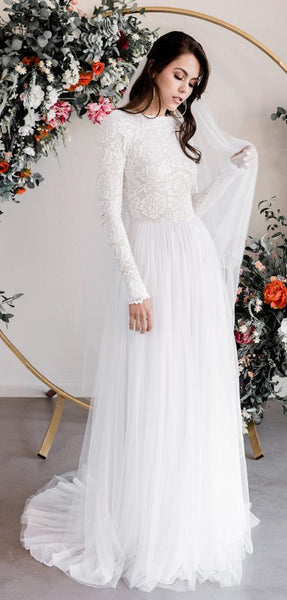 Long Sleeves Lace Top Tulle Wedding Dreses, Ivory Long Wedding Dresses, Bridal Gown