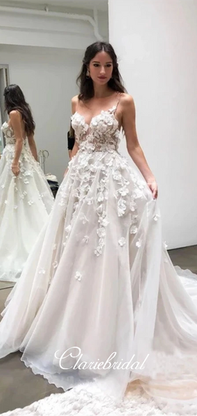 Spaghetti Long A-line Ivory Appliques Wedding Dresses, Bridal Gown, Long Wedding Dresses