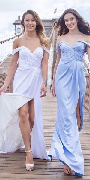 Off Shoulder Long Sheath Chiffon Bridesmaid Dresses, Side Slit Bridesmaid Dresses