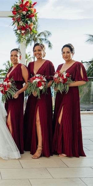 Short Sleeves Chiffon Bridesmaid Dresses, Side Slit Bridesmaid Dresses, Long Bridesmaid Dresses