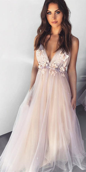 Deep V-neck Tulle Apppliques Prom Dresses, Long Prom Dresses, Popular Prom Dresses