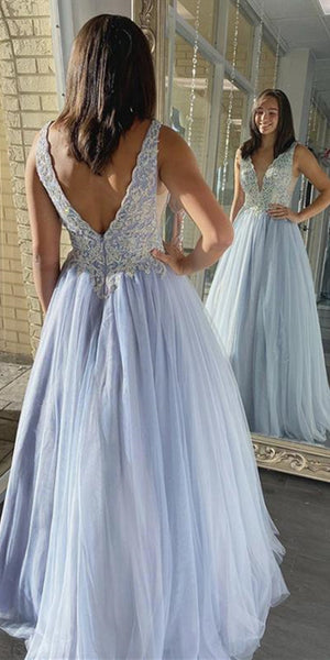 V-neck Long A-line Light Blue Lace Tulle Prom Dresses, Long Prom Dresses, 2020 Prom Dresses