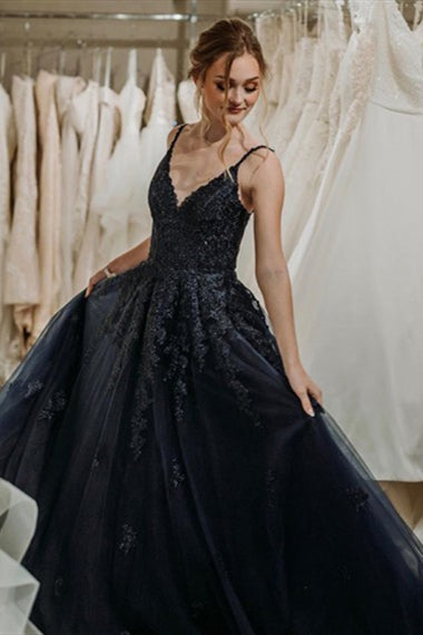 V-neck Black Lace Tulle Prom Dresses, A-line Prom Dresses, Newest Prom Dresses, Appliques Prom Dresses