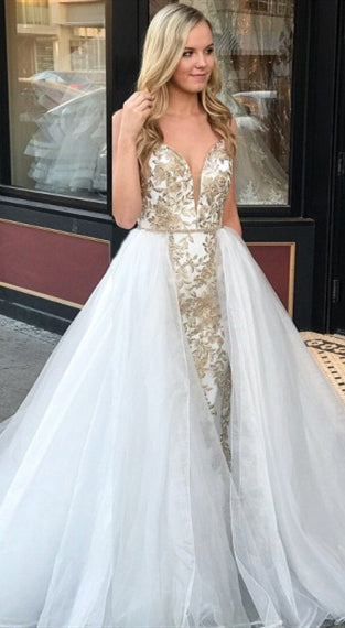 Lovely Champgne Lae Tulle Prom Dresses, Wedding Dresses, Popular Wedding Dresses, Bridal Gown