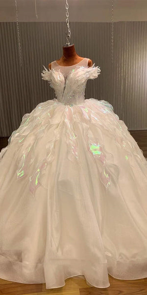 Illusion Feather Organza Wedding Dresses, Shemmering Tulle Wedding Gown, Newest Claire Design Wedding Dresses