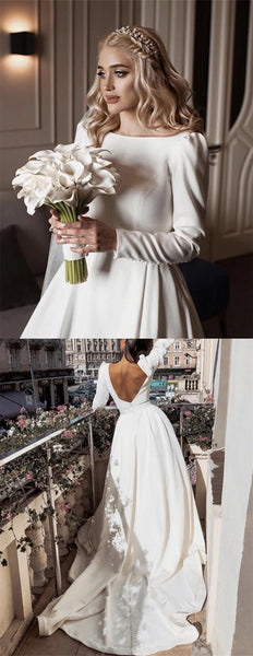 Round Neck Long Sleeves Jersey Wedding Dresses, Simple Elegant Wedding Dresses, Bridal Gown