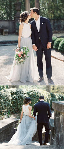 Lovely Chiffon Tulle Wedding Dresses, Simple Boho Wedding Dresses, Long Wedding Dresses