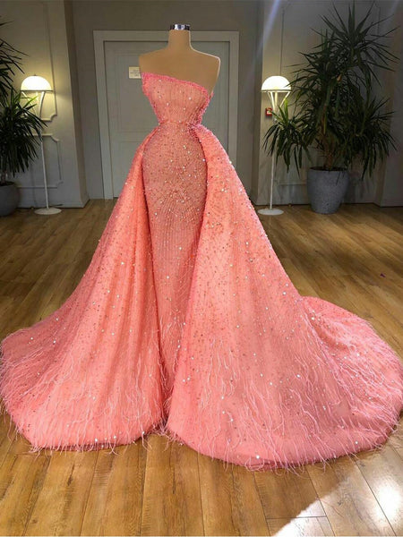 Strapless Luxury Coral Beaded Sequin Prom Dresses With Feathers, Newest Prom Dresses