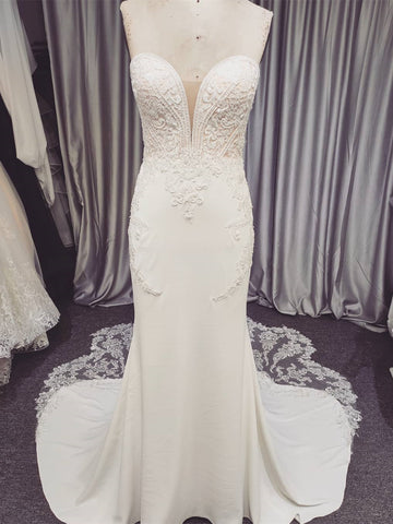 Sweetheart Long Mermaid Wedding Dresses, Lace Jersey Wedding Dresses, Long Wedding Dresses, Bridal Gown