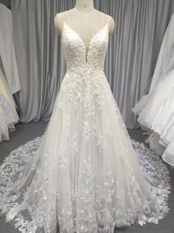 Spaghetti Long Lace Wedding Dresses, Romantic Wedding Dresses, A-line Wedding Dresses, Long Wedding Dresses, Bridal Gown