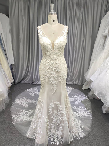V-neck Lace Tulle Wedding Dresses, Long Wedding Dresses, Bridal Gown, Mermaid Wedding Dresses, Popular Wedding Dresses