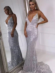 Deep V-neck Silver Sequin Long Mermaid Prom Dresses, Newest Sexy Prom Dresses