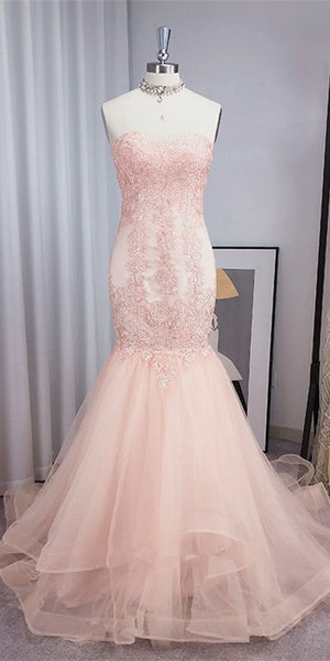 Sweetheart Pink Tulle Lace Prom Dresses, Mermaid 2021 Prom Dresses, Long Prom Dresses