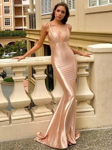 Simple Long Mermaid Prom Dresses, Elastic Satin Prom Dresses, Popular Prom Dresses, 2021 Prom Dresses