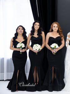 Sweetheart Black Mermaid High Slit Bridesmaid Dresses