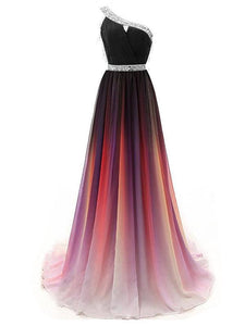 One Shoulder Beaded Gradient Chiffon Prom Dresses, Newest Prom Dresses, Prom Dresses