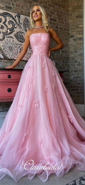 Strapless Long A-line Pink Tulle Appliques Prom Dresses, New Arrival Long Prom Dresses, 2020 Prom Dresses