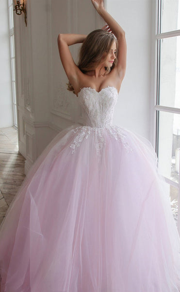 Sweetheart Long A-line Lace Tulle Wedding Dresses, Pink Wedding Dresses, Lovely 2020 Wedding Dresses