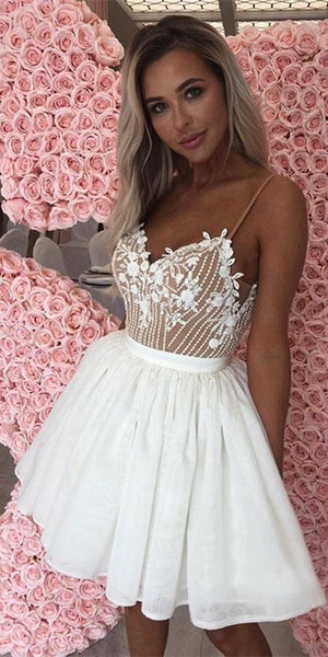 Lovely Ivory Lace Chiffon Homecoming Dresses, Beaded Homecoming Dresses, Short Prom Dresses