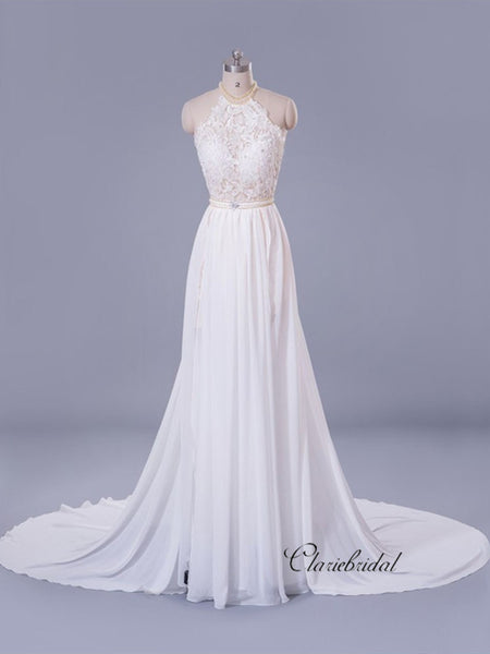 Halter Lace Bridal Wedding Dresses, Beaded A-line Elegant Wedding Dresses