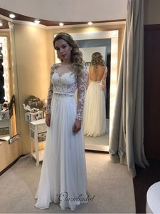 Backless Long Sleeves Lace Wedding Dresses, Newest Lace Popular Wedding Dresses