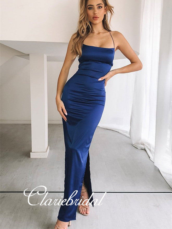 Lace Up Mermaid Sexy Fitted Long Prom Dresses, Prom Dresses