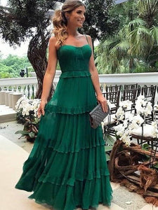 Lovely Emerald Green 30D Chiffon Prom Dresses, Long Prom Dresses, Popular Prom Dresses