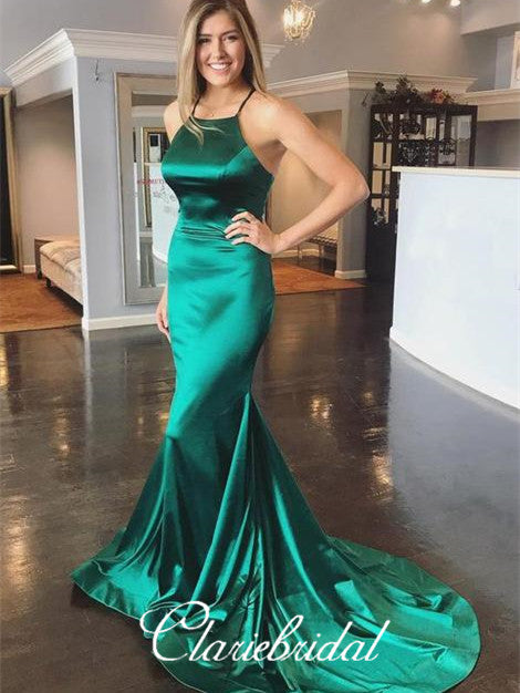 Green Soft Satin Mermaid Prom Dresses, Cross Back Prom Dresses, Long Prom Dresses