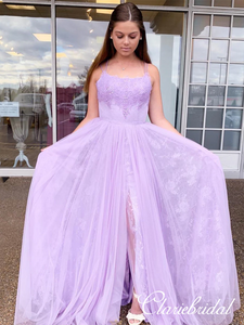 Gorgeous Lilac Lace Tulle Prom Dresses, Beaded Long Prom Dresses, Side Slit Long Prom Dresses