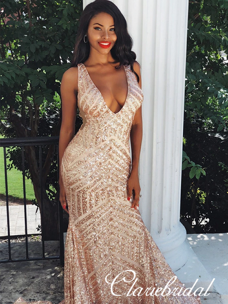 V-neck Sexy Mermaid Sequin Prom Dresses, Long Prom Dresses, Popular Prom Dresses
