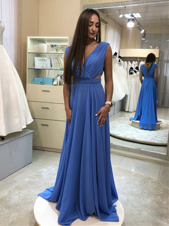 V-neck Sky Blue A-line Chiffon Prom Dresses, Long Bridesmaid Dresses