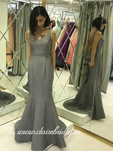 Grey Sheen Satin Mermaid Prom Dresses, Ruffled Long Prom Dresses, Prom Dresses