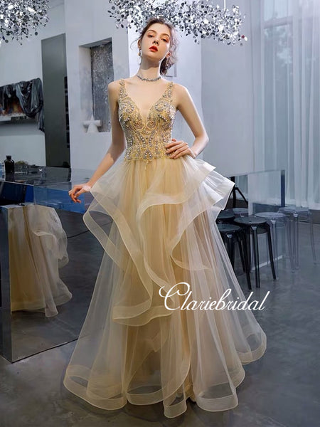V-neck Long A-line Tulle Rhinestone Prom Dresses, New Claire Design Prom Dresses, Long Prom Dresses