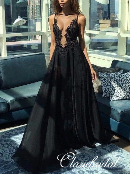 See Through Lace Tulle Top Long A-line Prom Dresses, Black Prom Dresses, Long Prom Dresses