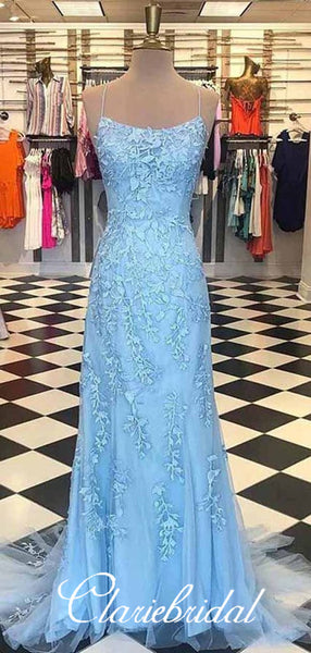 Spaghetti Long Sheath Light Blue Lace Prom Dresses, Long Prom Dresses, Prom Dresses
