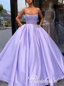 Spaghetti Long Lilac Satin Lace Ball Gown Dresses, Long Prom Dresses, Popular Prom Dresses