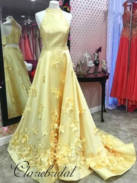 Yellow Satin 3D Floral Prom Dresses, Long Prom Dresses, Popular Prom Dresses