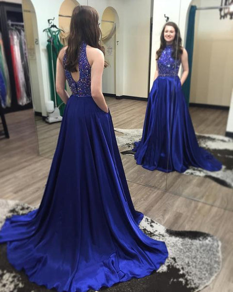 2 Pieces Rhinestone Beaded Elastic Satin Prom Dresses, Open Back Prom Dresses