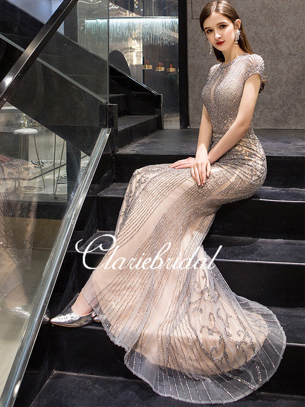 Luxury Long Mermaid Rhinestone Beaded Prom Dresses, New Claire Design Prom Dresses