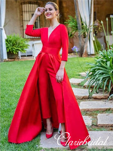 V-neck 3/4 Sleeves Red Satin Prom Dresses, Unique Long Prom Dresses, Chic Prom Dresses