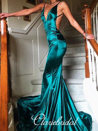 Spaghetti V-neck Mermaid Long Prom Dresses,  Sexy Backless Prom Dresses