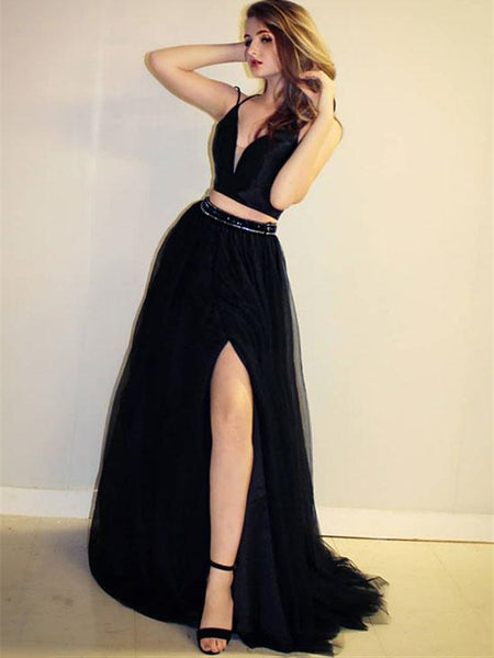 2 Pieces Black Tulle Prom Dresses, Simple Prom Dresses, Long Prom Dresses