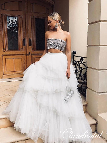 2 Pieces Beaded Top Fluffy Tulle Prom Dresses, Long Prom Dresses, Chic Long Prom Dresses