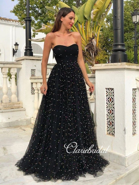 Sweetheart Long A-line Black Tulle Beaded Prom Dresses, Chic Long Prom Dresses, 2020 Prom Dresses